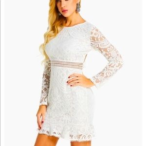 White Backless Design Lace Long Sleeve dress new